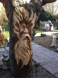 Wild man tree carving rs